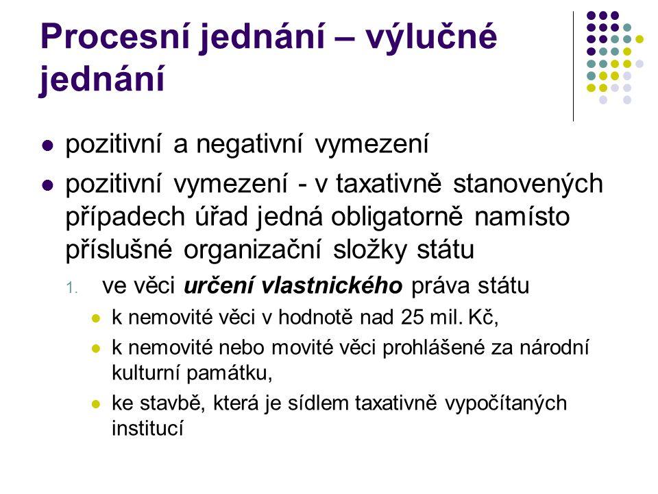 Procesní jednání – výlučné jednání pozitivní a negativní vymezení pozitivní vymezení - v taxativně stanovených případech úřad jedná obligatorně namíst