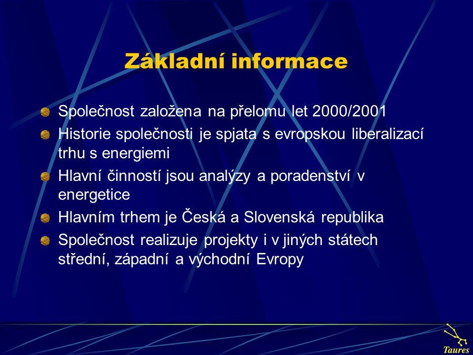 Základní informace Společnost založena na přelomu let 2000/2001 Historie společnosti je spjata s evropskou liberalizací trhu s energiemi Hlavní činností jsou analýzy a poradenství v energetice Hlavním trhem je Česká a Slovenská republika Společnost realizuje projekty i v jiných státech střední, západní a východní Evropy