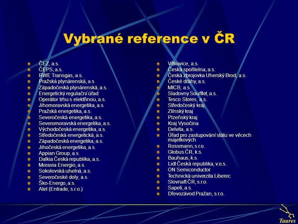Vybrané reference v ČR ČEZ, a.s.ČEPS, a.s. RWE Transgas, a.s.