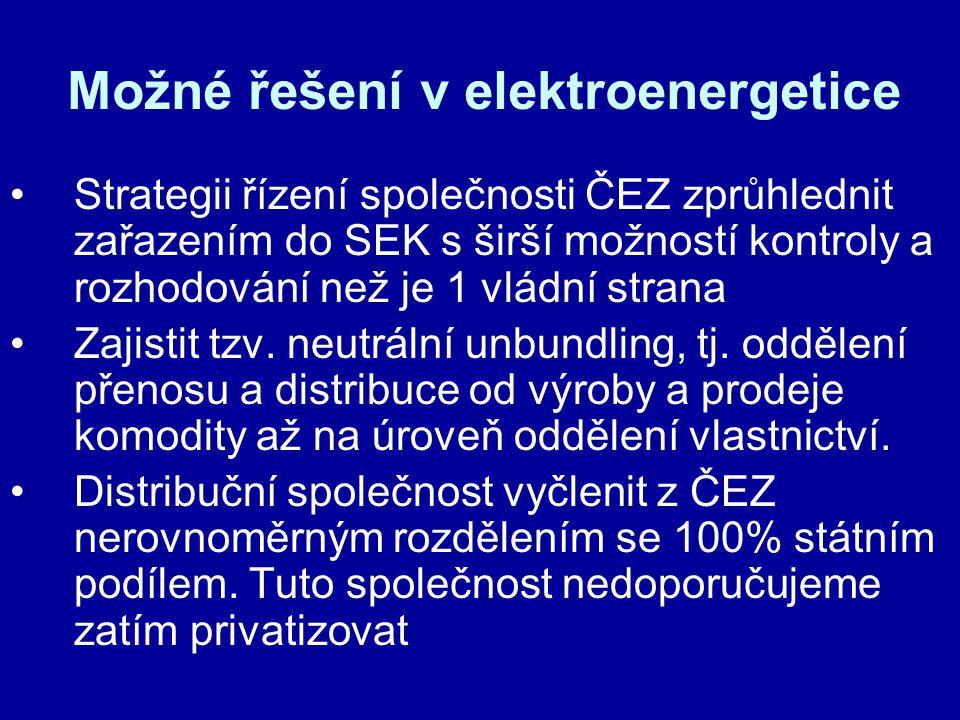 Možné řešení v elektroenergetice Strategii řízení společnosti ČEZ zprůhlednit zařazením do SEK s širší možností kontroly a rozhodování než je 1 vládní strana Zajistit tzv.