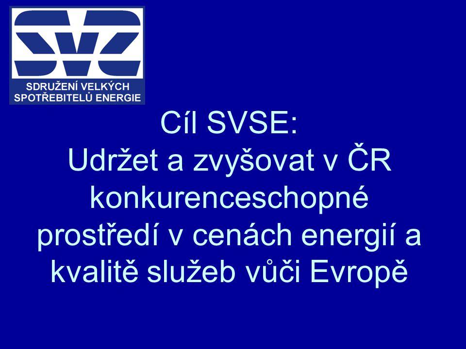 Cíl SVSE: Udržet a zvyšovat v ČR konkurenceschopné prostředí v cenách energií a kvalitě služeb vůči Evropě