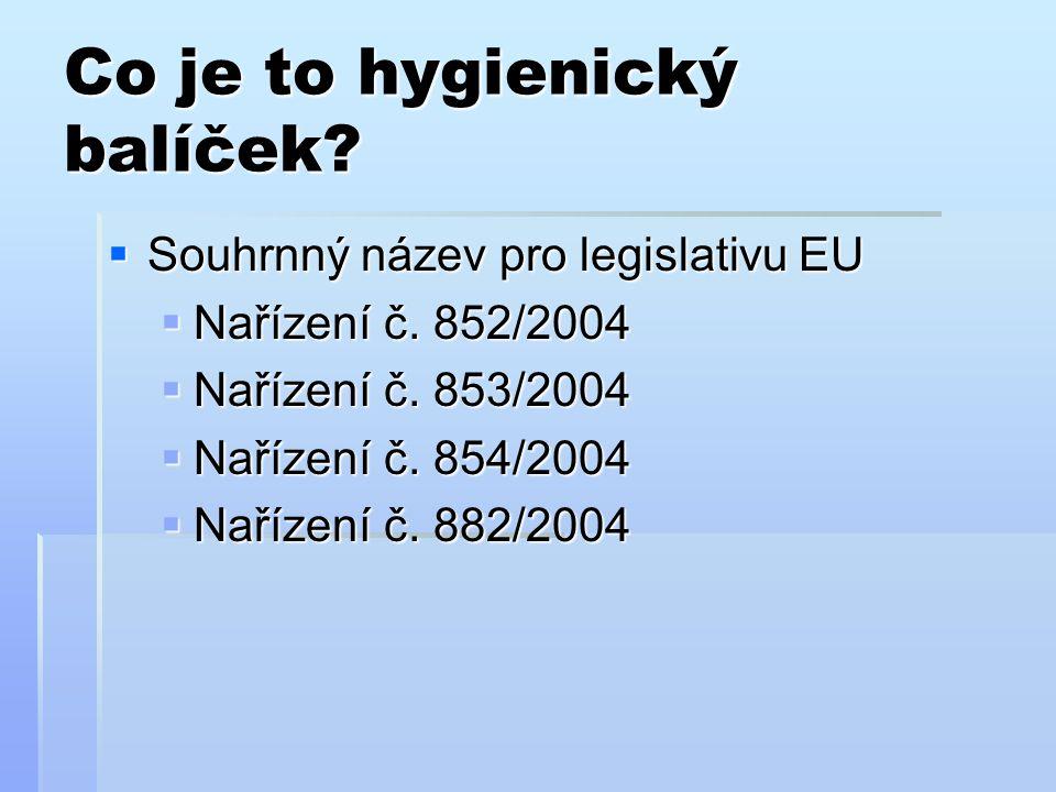 Co je to hygienický balíček?  Souhrnný název pro legislativu EU  Nařízení č. 852/2004  Nařízení č. 853/2004  Nařízení č. 854/2004  Nařízení č. 88