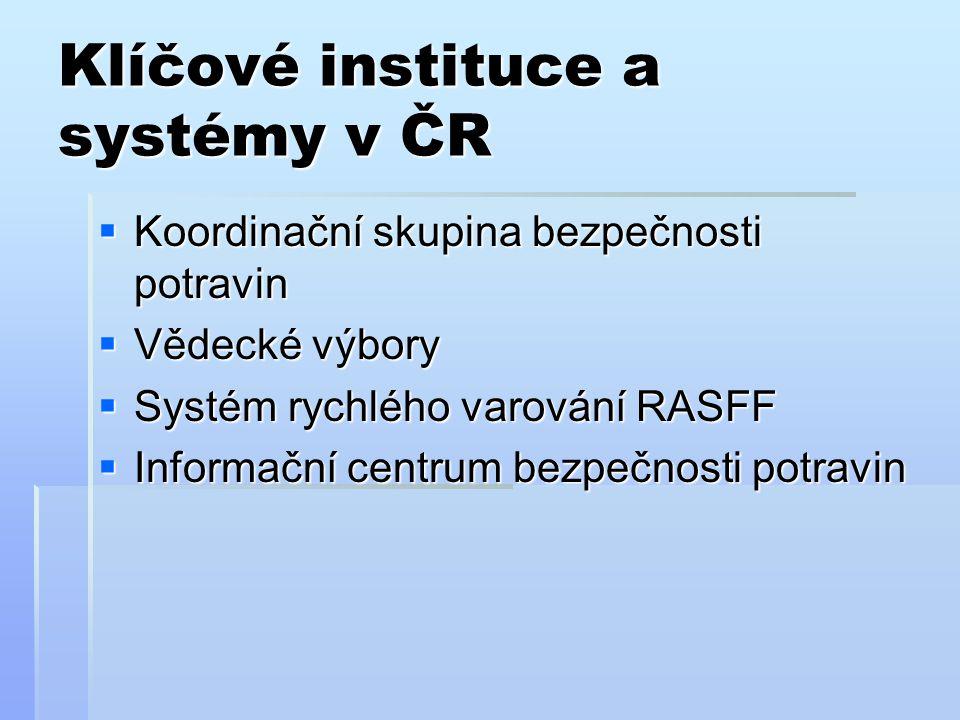 Klíčové instituce a systémy v ČR  Koordinační skupina bezpečnosti potravin  Vědecké výbory  Systém rychlého varování RASFF  Informační centrum bez