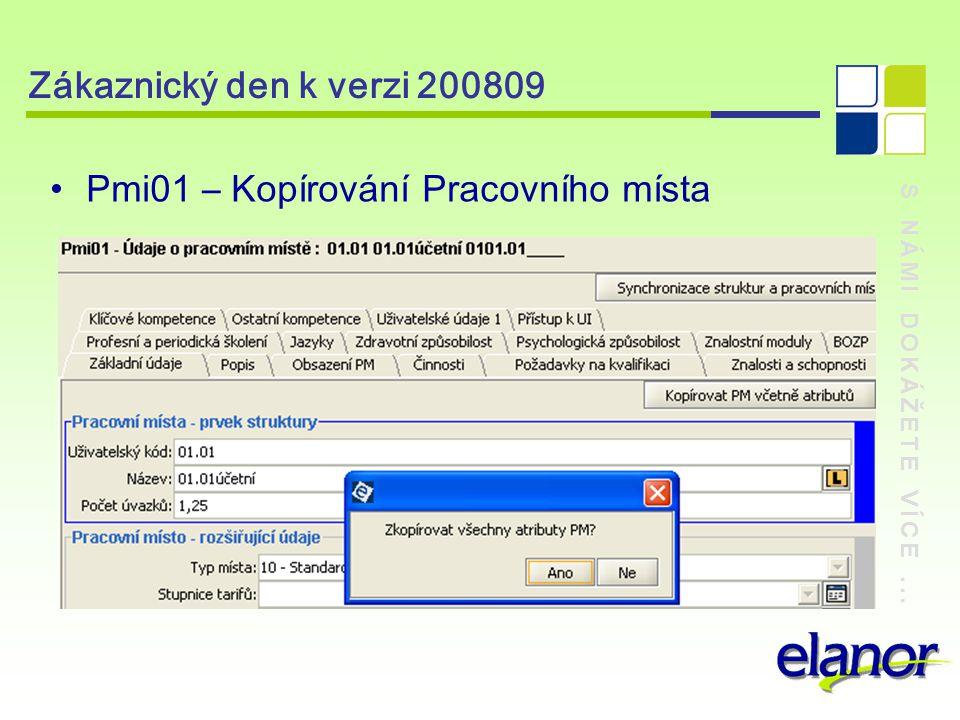 S NÁMI DOKÁŽETE VÍCE... Zákaznický den k verzi 200809 Pmi01 – Kopírování Pracovního místa