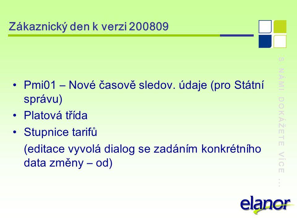 S NÁMI DOKÁŽETE VÍCE... Zákaznický den k verzi 200809 Pmi01 – Nové časově sledov.