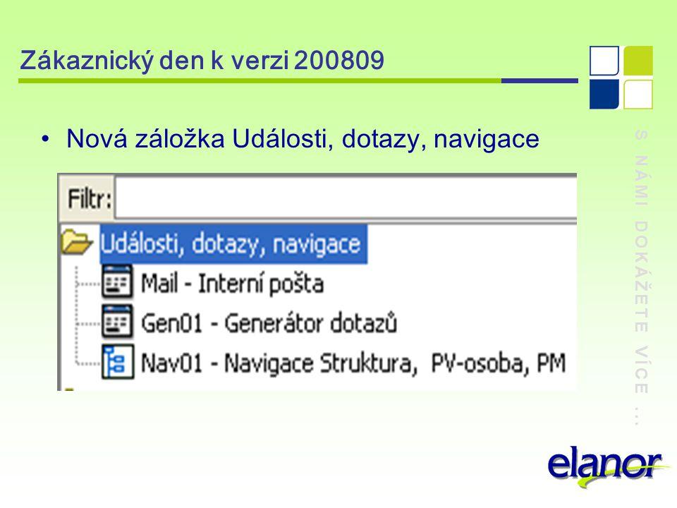 S NÁMI DOKÁŽETE VÍCE... Zákaznický den k verzi 200809 Nová záložka Ostatní zákaznické sestavy
