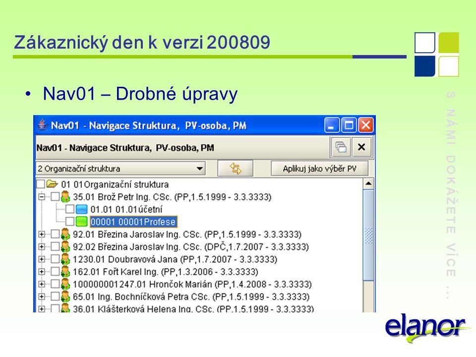 S NÁMI DOKÁŽETE VÍCE... Zákaznický den k verzi 200809 Nav01 – Drobné úpravy