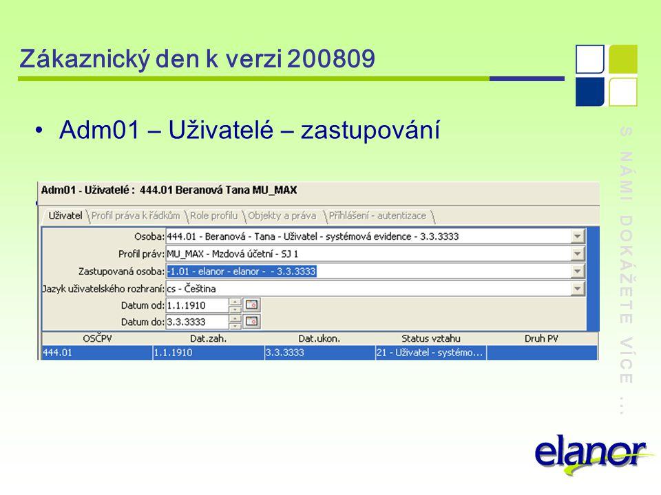 S NÁMI DOKÁŽETE VÍCE... Zákaznický den k verzi 200809 Adm01 – Uživatelé – zastupování