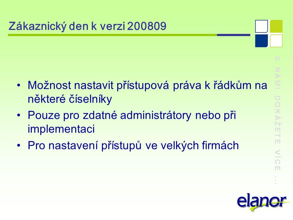 S NÁMI DOKÁŽETE VÍCE... Zákaznický den k verzi 200809 Adm03 – Role – Nová záložka Uživatelé
