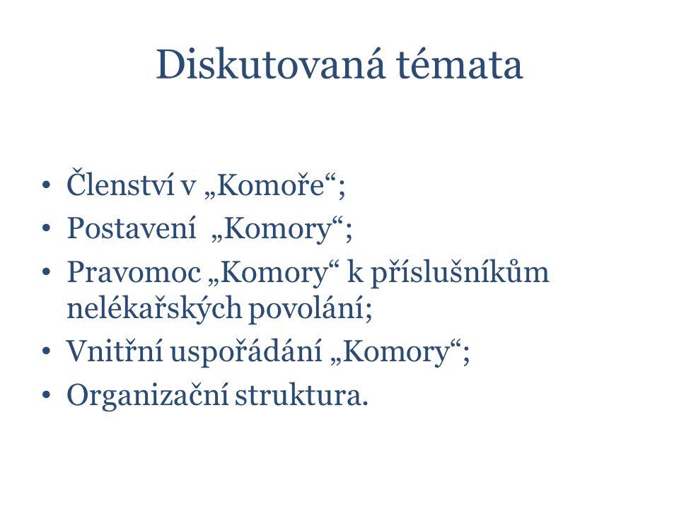 """Diskutovaná témata Členství v """"Komoře ; Postavení """"Komory ; Pravomoc """"Komory k příslušníkům nelékařských povolání; Vnitřní uspořádání """"Komory ; Organizační struktura."""