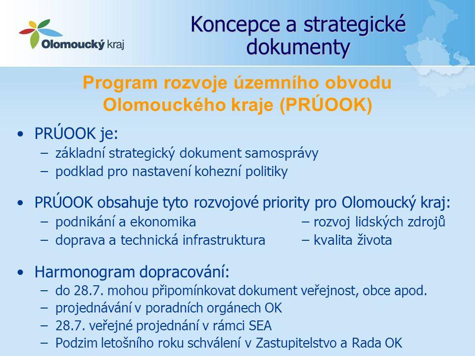 Koncepce a strategické dokumenty PRÚOOK je: –základní strategický dokument samosprávy –podklad pro nastavení kohezní politiky PRÚOOK obsahuje tyto roz