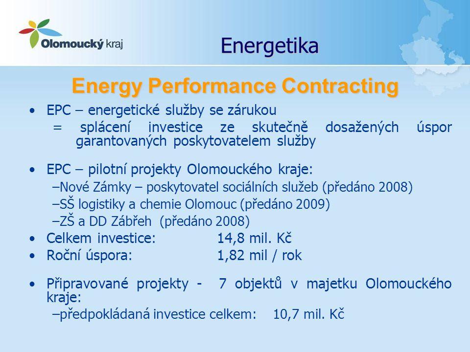 Energetika EPC – energetické služby se zárukou = splácení investice ze skutečně dosažených úspor garantovaných poskytovatelem služby EPC – pilotní pro