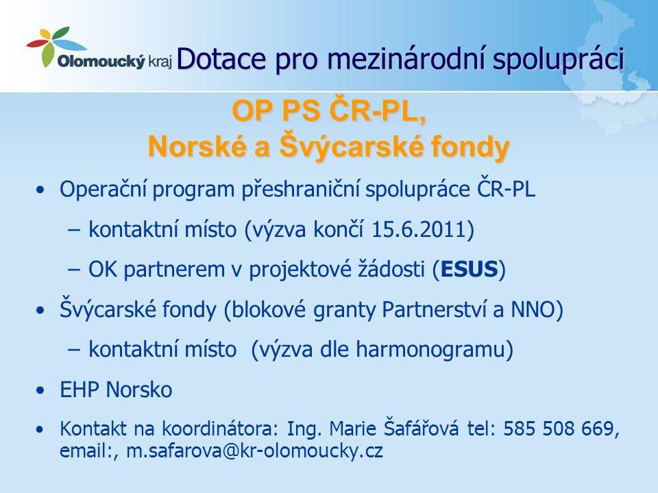 Dotace pro mezinárodní spolupráci Operační program přeshraniční spolupráce ČR-PL –kontaktní místo (výzva končí 15.6.2011) –OK partnerem v projektové ž