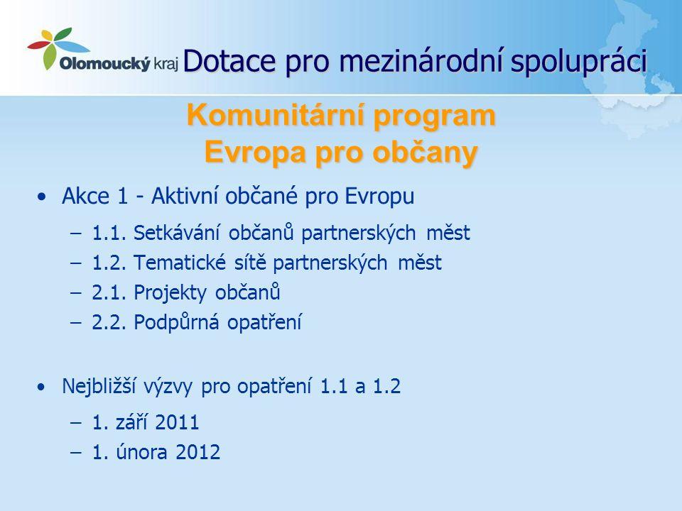 Dotace pro mezinárodní spolupráci Akce 1 - Aktivní občané pro Evropu –1.1. Setkávání občanů partnerských měst –1.2. Tematické sítě partnerských měst –