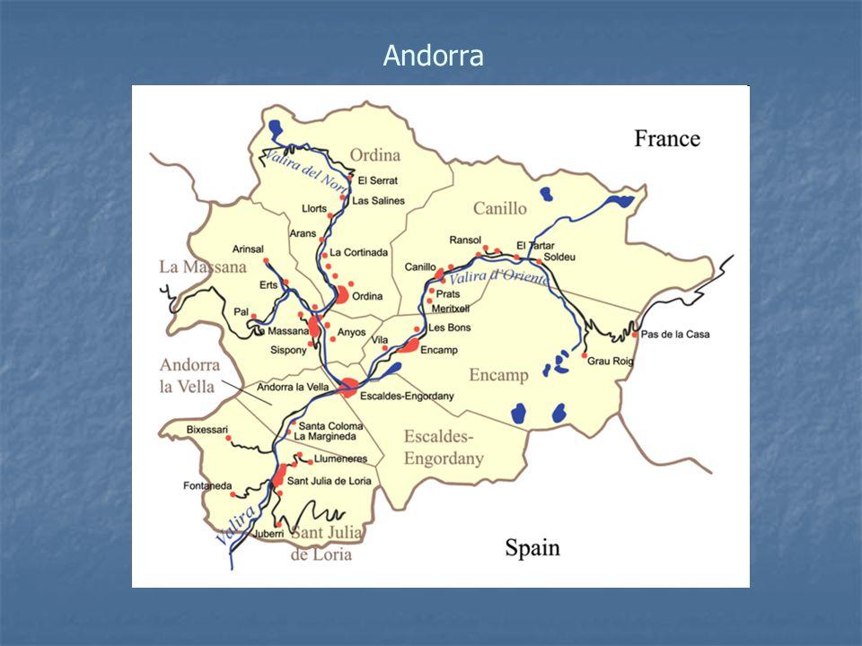 Hlavní město:Andorra la Vella Rozloha:468 km² Nejvyšší bod:Coma Pedrosa (2946 m n.