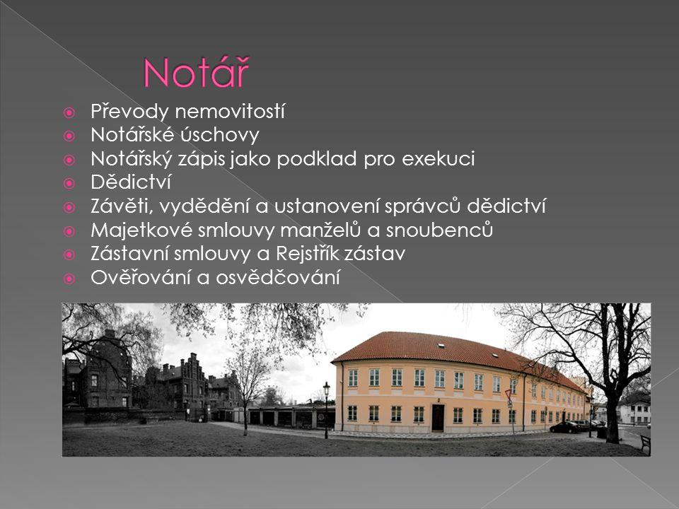  Převody nemovitostí  Notářské úschovy  Notářský zápis jako podklad pro exekuci  Dědictví  Závěti, vydědění a ustanovení správců dědictví  Majet