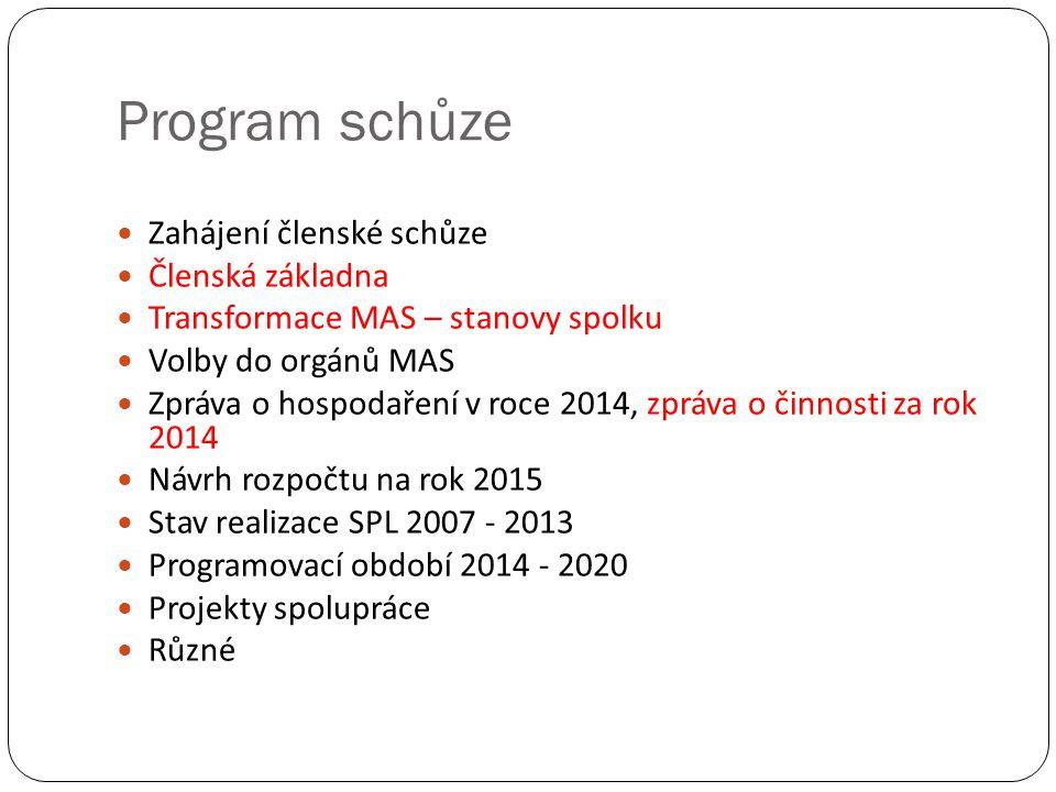 Program schůze Zahájení členské schůze Členská základna Transformace MAS – stanovy spolku Volby do orgánů MAS Zpráva o hospodaření v roce 2014, zpráva o činnosti za rok 2014 Návrh rozpočtu na rok 2015 Stav realizace SPL 2007 - 2013 Programovací období 2014 - 2020 Projekty spolupráce Různé