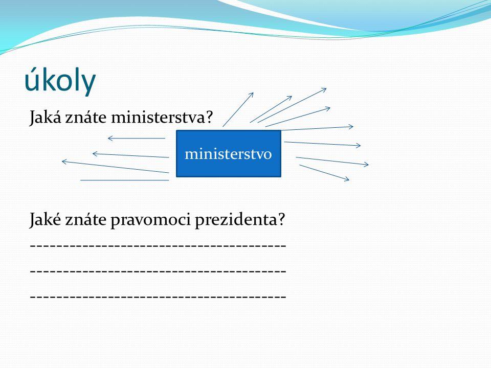 úkoly Jaká znáte ministerstva. Jaké znáte pravomoci prezidenta.