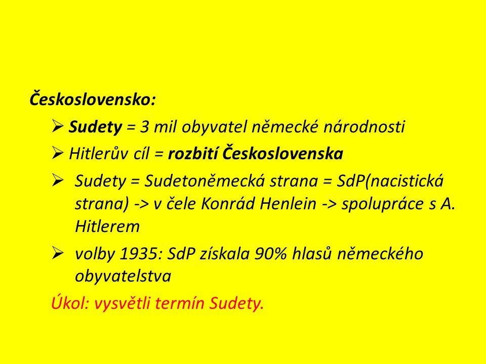 Československo:  Sudety = 3 mil obyvatel německé národnosti  Hitlerův cíl = rozbití Československa  Sudety = Sudetoněmecká strana = SdP(nacistická strana) -> v čele Konrád Henlein -> spolupráce s A.