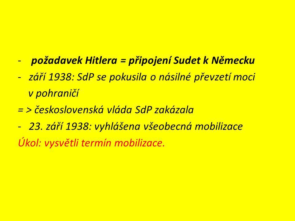 - požadavek Hitlera = připojení Sudet k Německu -září 1938: SdP se pokusila o násilné převzetí moci v pohraničí = > československá vláda SdP zakázala -23.