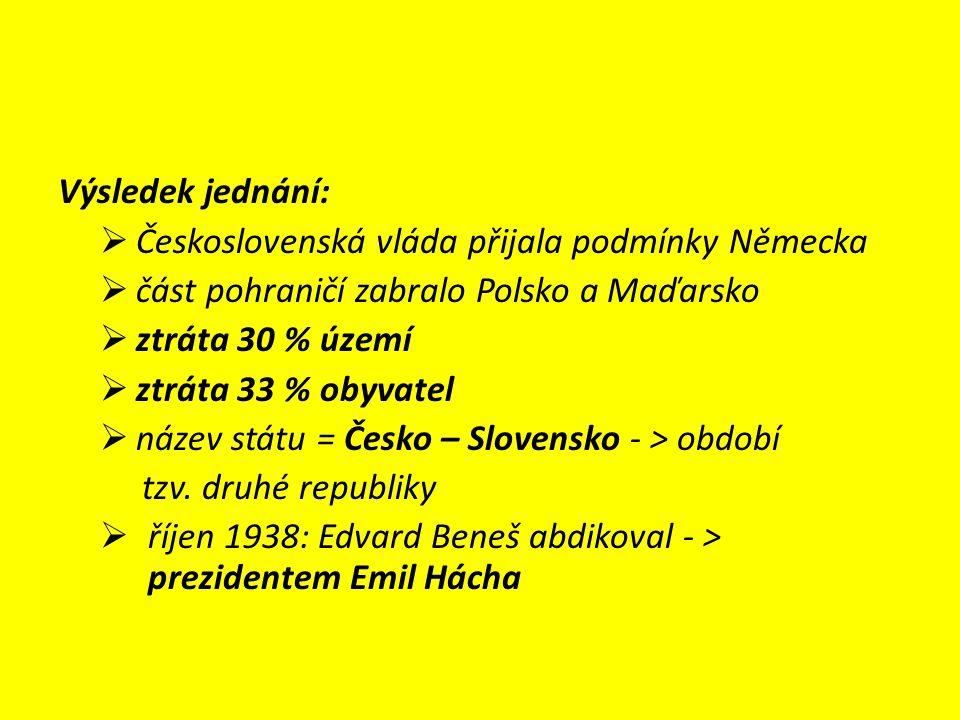 Výsledek jednání:  Československá vláda přijala podmínky Německa  část pohraničí zabralo Polsko a Maďarsko  ztráta 30 % území  ztráta 33 % obyvatel  název státu = Česko – Slovensko - > období tzv.