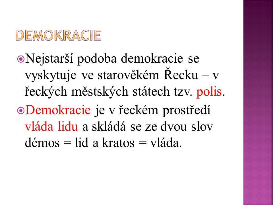 Nejstarší podoba demokracie se vyskytuje ve starověkém Řecku – v řeckých městských státech tzv.