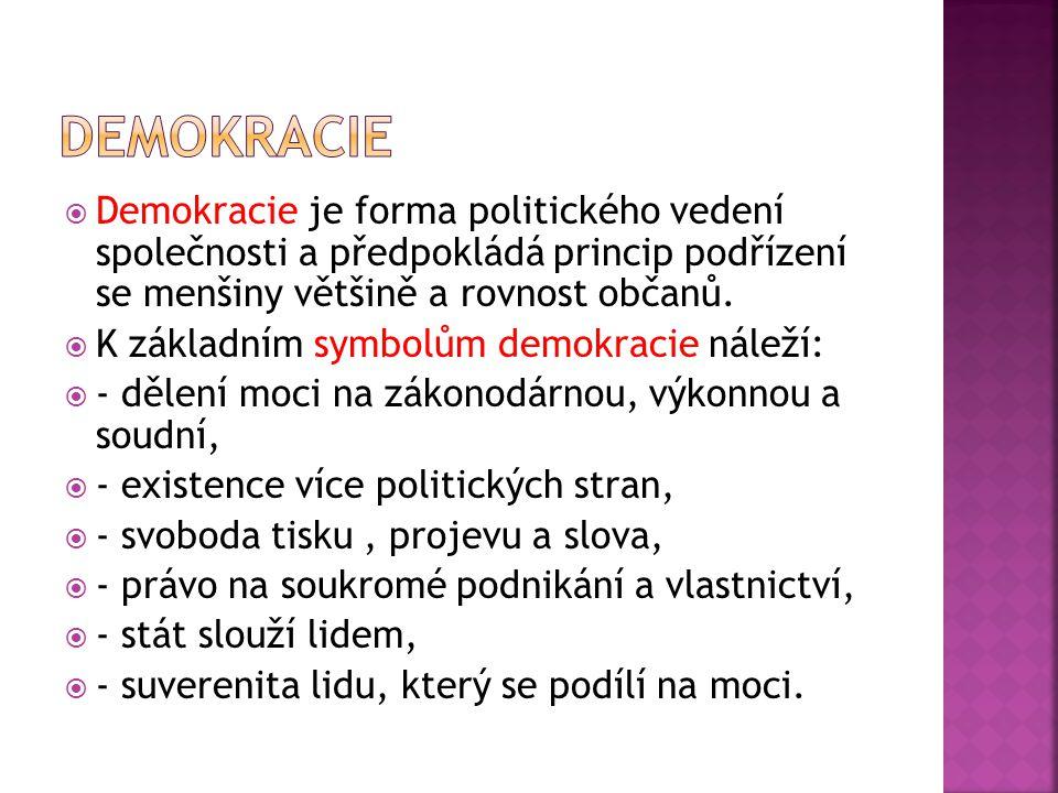  Demokracie je forma politického vedení společnosti a předpokládá princip podřízení se menšiny většině a rovnost občanů.