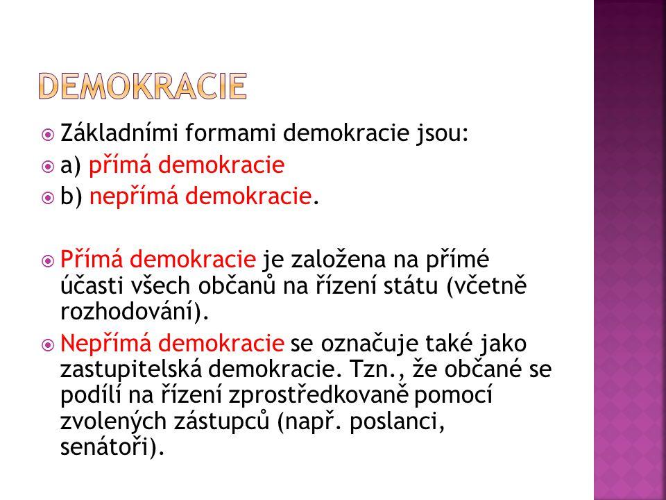  V současném světě jsou téměř všechny demokracie nepřímé.