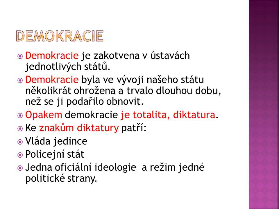  Demokracie je zakotvena v ústavách jednotlivých států.