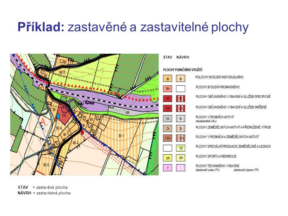 Příklad: zastavěné a zastavitelné plochy STAV NÁVRH STAV = zastavěná plocha NÁVRH = zastavitelná plocha
