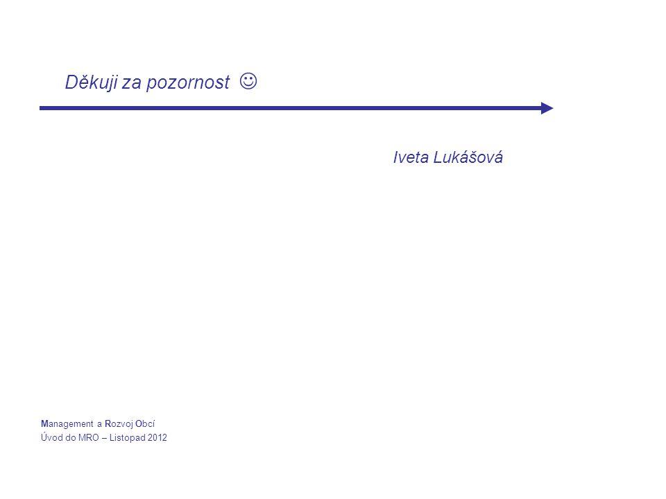 Děkuji za pozornost Iveta Lukášová Management a Rozvoj Obcí Úvod do MRO – Listopad 2012