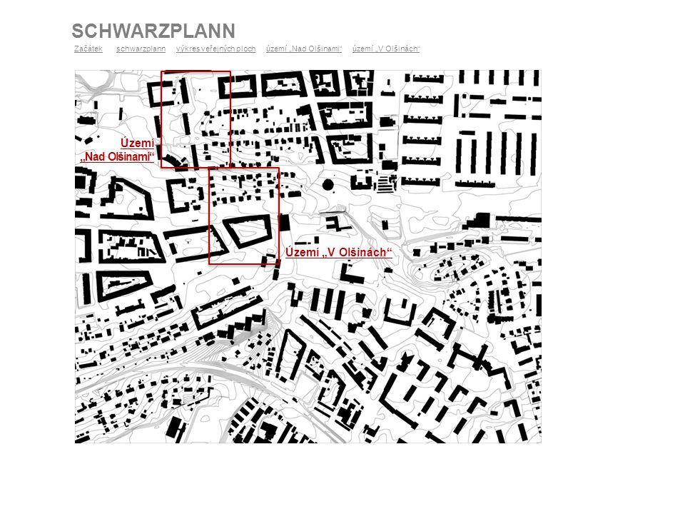 """SCHWARZPLANN ZačátekZačátek schwarzplann výkres veřejných ploch území """"Nad Olšinami"""" území """"V Olšinách""""schwarzplannvýkres veřejných ploch Území """"V Olš"""