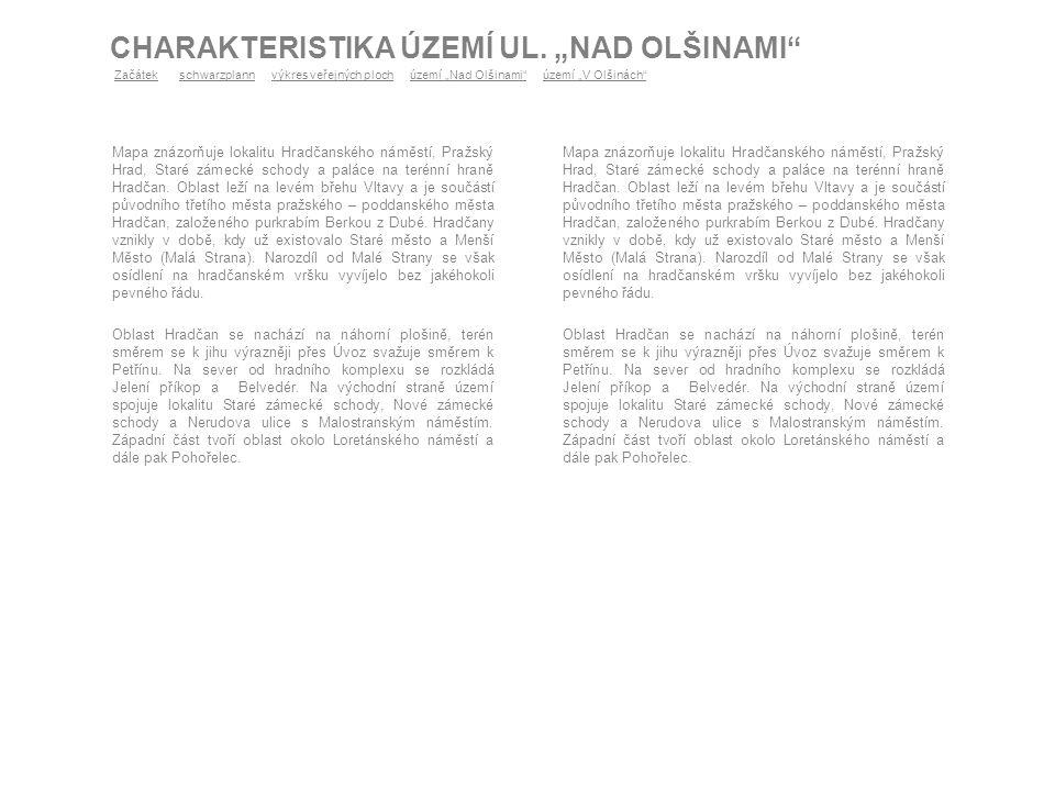 """CHARAKTERISTIKA ÚZEMÍ UL. """"NAD OLŠINAMI"""" Mapa znázorňuje lokalitu Hradčanského náměstí, Pražský Hrad, Staré zámecké schody a paláce na terénní hraně H"""