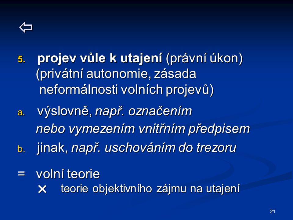 21  5. projev vůle k utajení (právní úkon) (privátní autonomie, zásada (privátní autonomie, zásada neformálnosti volních projevů) neformálnosti volní