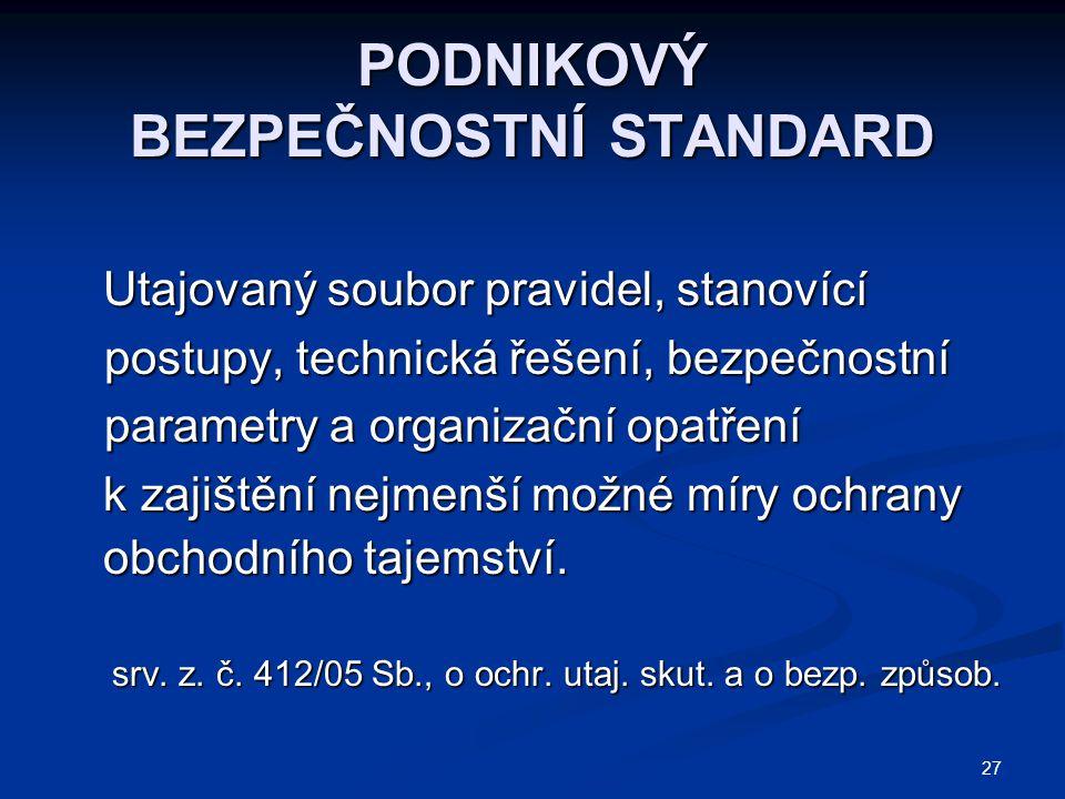 27 PODNIKOVÝ BEZPEČNOSTNÍ STANDARD Utajovaný soubor pravidel, stanovící postupy, technická řešení, bezpečnostní parametry a organizační opatření Utajo