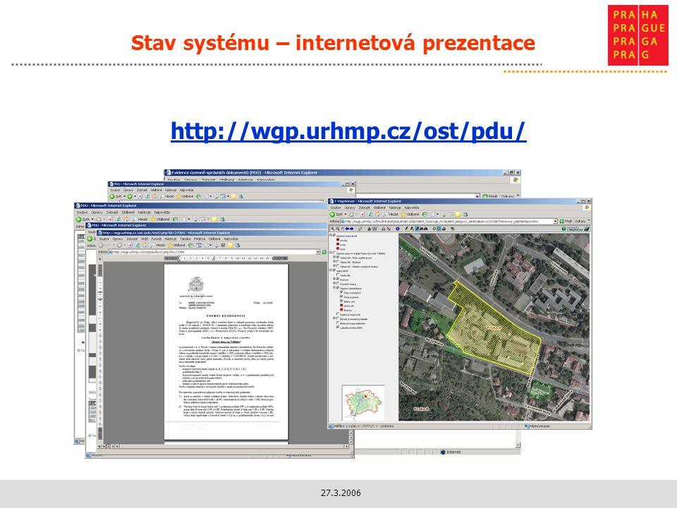 27.3.2006 Stav systému – internetová prezentace http://wgp.urhmp.cz/ost/pdu/