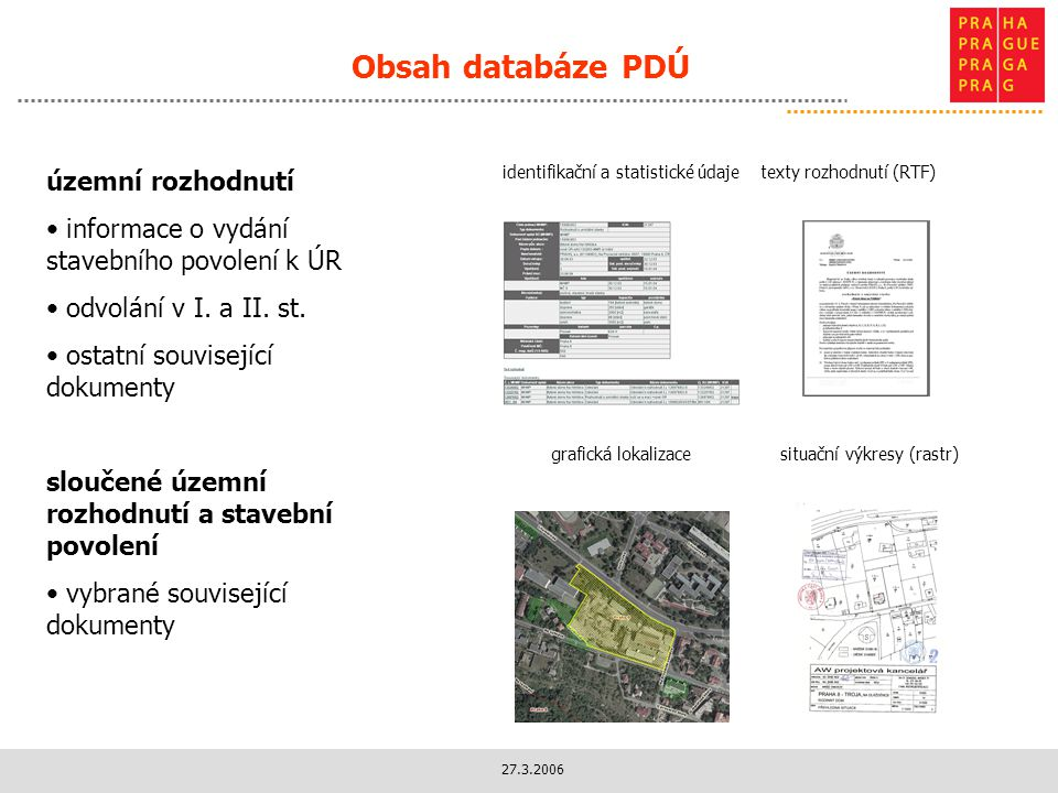 27.3.2006 Obsah databáze PDÚ identifikační a statistické údajetexty rozhodnutí (RTF) situační výkresy (rastr)grafická lokalizace územní rozhodnutí informace o vydání stavebního povolení k ÚR odvolání v I.