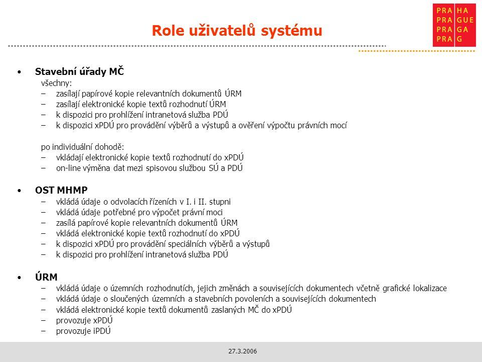 27.3.2006 Role uživatelů systému Stavební úřady MČ všechny: –zasílají papírové kopie relevantních dokumentů ÚRM –zasílají elektronické kopie textů rozhodnutí ÚRM –k dispozici pro prohlížení intranetová služba PDÚ –k dispozici xPDÚ pro provádění výběrů a výstupů a ověření výpočtu právních mocí po individuální dohodě: –vkládají elektronické kopie textů rozhodnutí do xPDÚ –on-line výměna dat mezi spisovou službou SÚ a PDÚ OST MHMP –vkládá údaje o odvolacích řízeních v I.