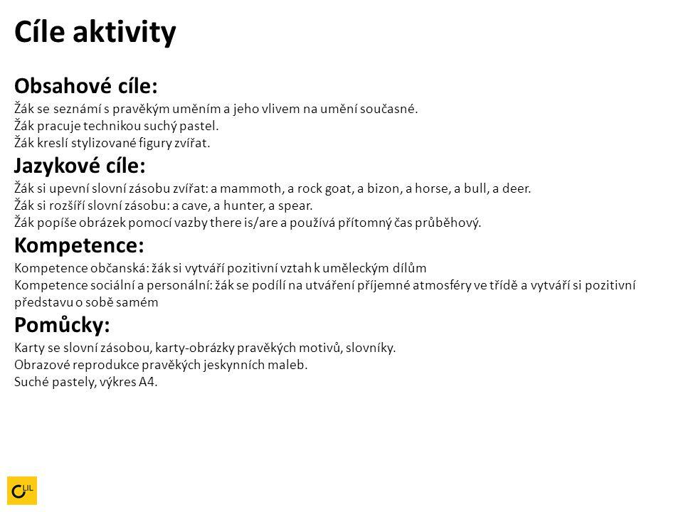 Pracovní postup aktivity 1.Učitel česky popisuje reprodukci pravěké malby.