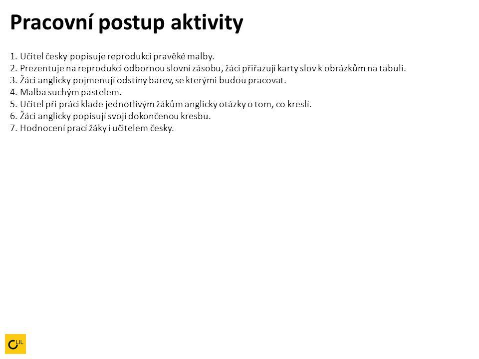 Pracovní postup aktivity 1. Učitel česky popisuje reprodukci pravěké malby. 2. Prezentuje na reprodukci odbornou slovní zásobu, žáci přiřazují karty s