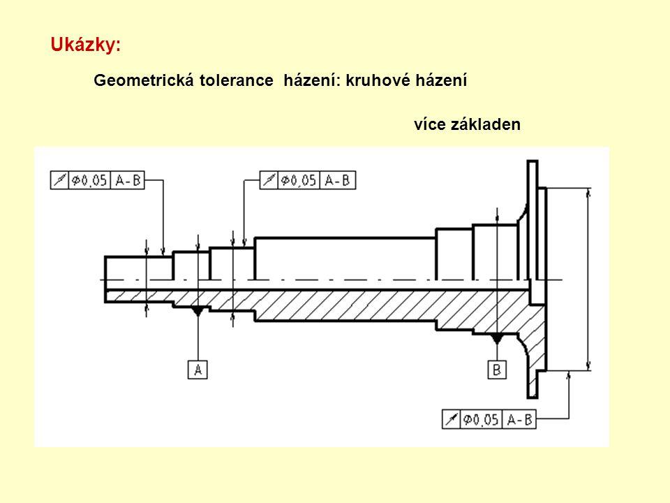 Ukázky: Geometrická tolerance házení: kruhové házení více základen