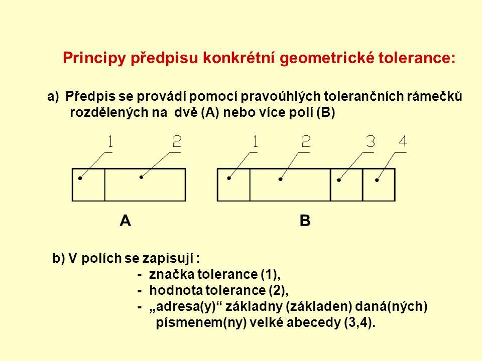Principy předpisu konkrétní geometrické tolerance: a)Předpis se provádí pomocí pravoúhlých tolerančních rámečků rozdělených na dvě (A) nebo více polí