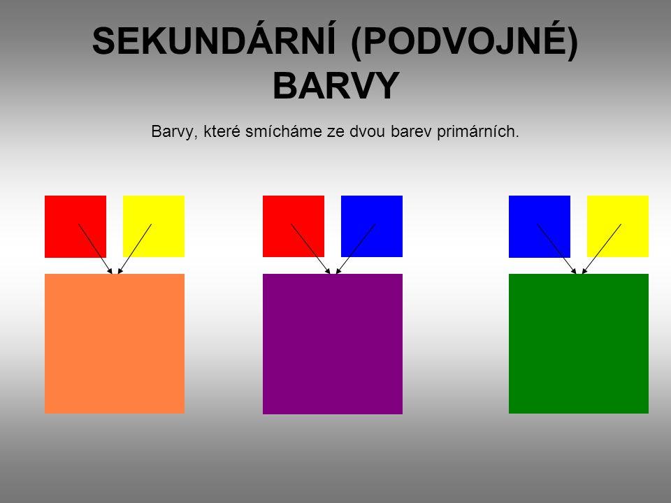 SEKUNDÁRNÍ (PODVOJNÉ) BARVY Barvy, které smícháme ze dvou barev primárních.