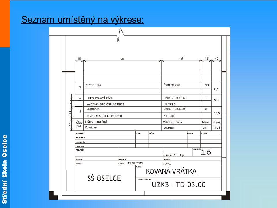 Střední škola Oselce Seznam umístěný na výkrese: