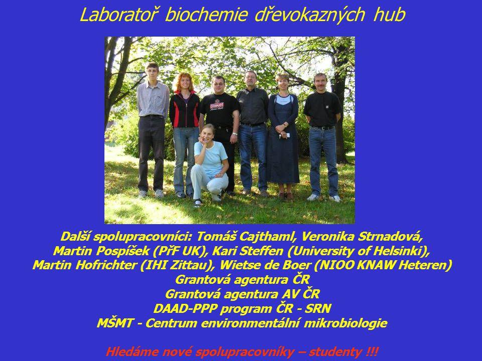 Další spolupracovníci: Tomáš Cajthaml, Veronika Strnadová, Martin Pospíšek (PřF UK), Kari Steffen (University of Helsinki), Martin Hofrichter (IHI Zit