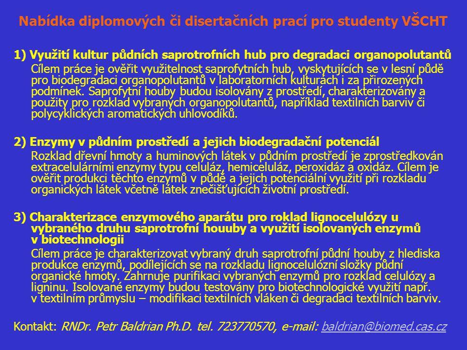 Nabídka diplomových či disertačních prací pro studenty VŠCHT 1) Využití kultur půdních saprotrofních hub pro degradaci organopolutantů Cílem práce je