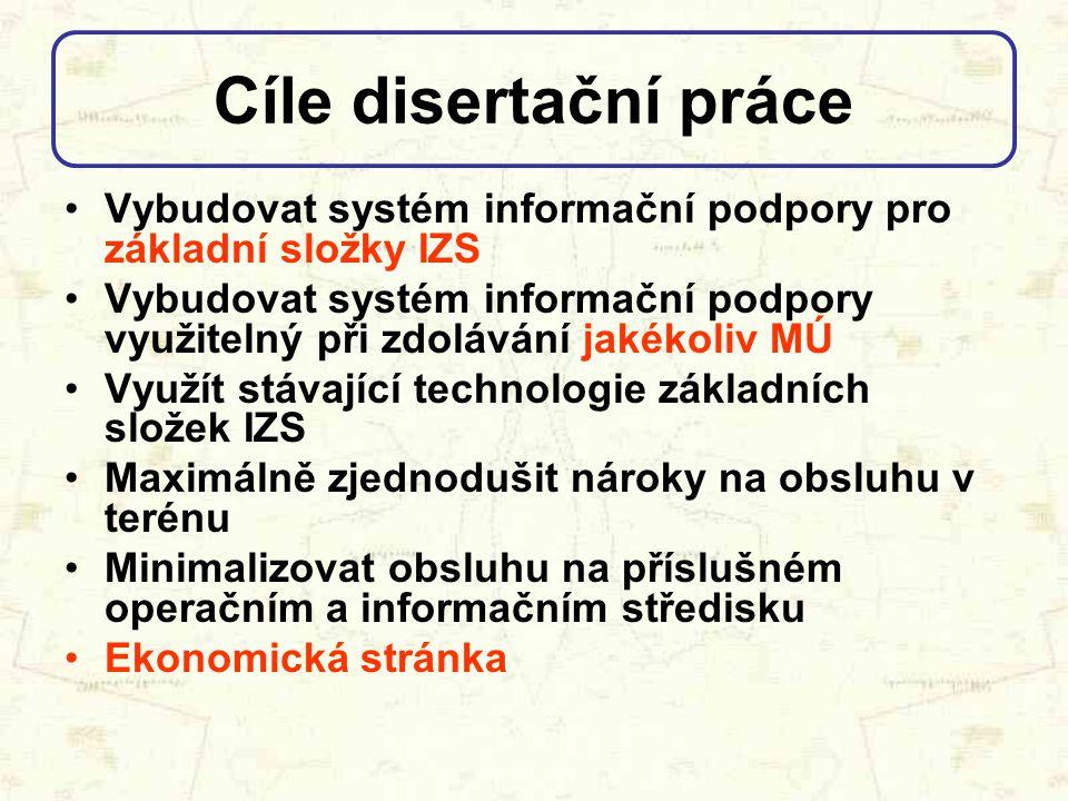 Vybudovat systém informační podpory pro základní složky IZS Vybudovat systém informační podpory využitelný při zdolávání jakékoliv MÚ Využít stávající