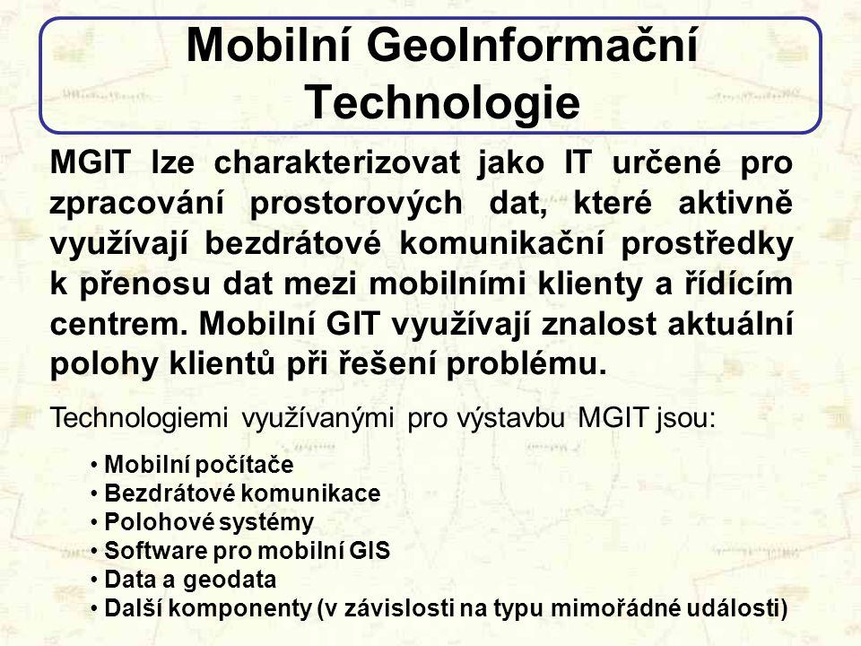 """Proč mobilní GIT Papírová mapa nemusí být vždy """"po ruce Dokumentace se vztahuje pouze k objektům Aktuálnost podkladových dat, možnost on-line aktualizace a dynamické reakce na vzniklou situaci Dostupné funkce GIS (Pan, Zoom, Filter, Search, Analyze,….) Využití GPS Přístup k databázím Vývoj mobilních GIT"""