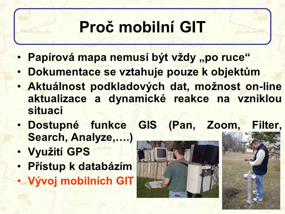 """Proč mobilní GIT Papírová mapa nemusí být vždy """"po ruce"""" Dokumentace se vztahuje pouze k objektům Aktuálnost podkladových dat, možnost on-line aktuali"""