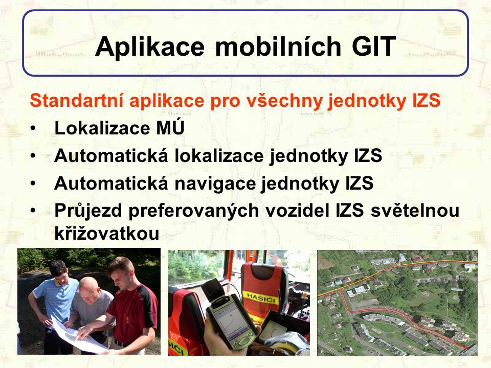 Aplikace mobilních GIT Nadstavbové aplikace pro některé jednotky IZS Přístup k vzdáleným databázím Zobrazení dokumentací související se zdoláváním MÚ Analýzy šíření mimořádné události, popř.